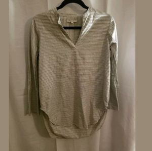 Madewell V Neck Pullover Striped Tan Top XS